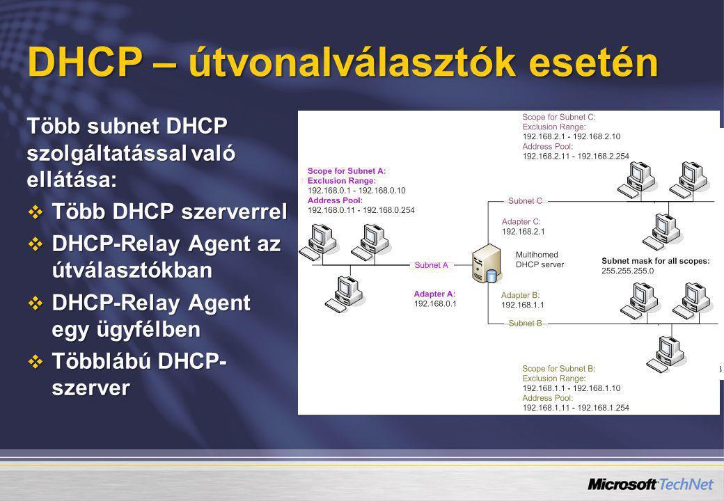 DHCP – útvonalválasztók esetén Több subnet DHCP szolgáltatással való ellátása:  Több DHCP szerverrel  DHCP-Relay Agent az útválasztókban  DHCP-Rela