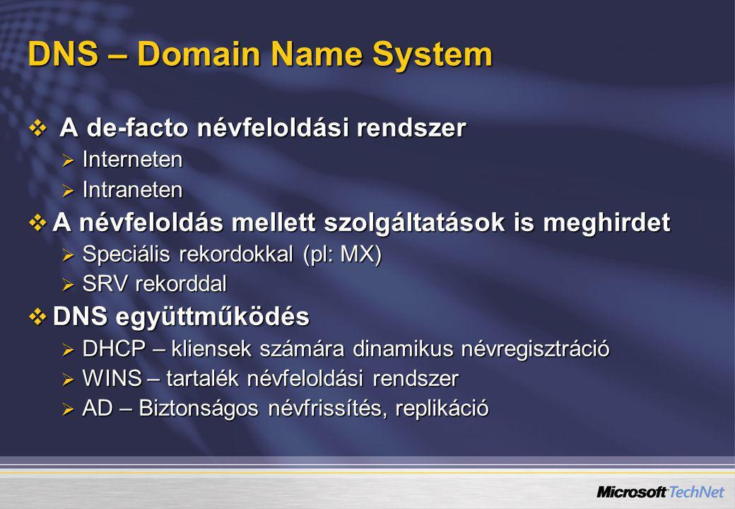 DNS – Domain Name System  A de-facto névfeloldási rendszer  Interneten  Intraneten  A névfeloldás mellett szolgáltatások is meghirdet  Speciális