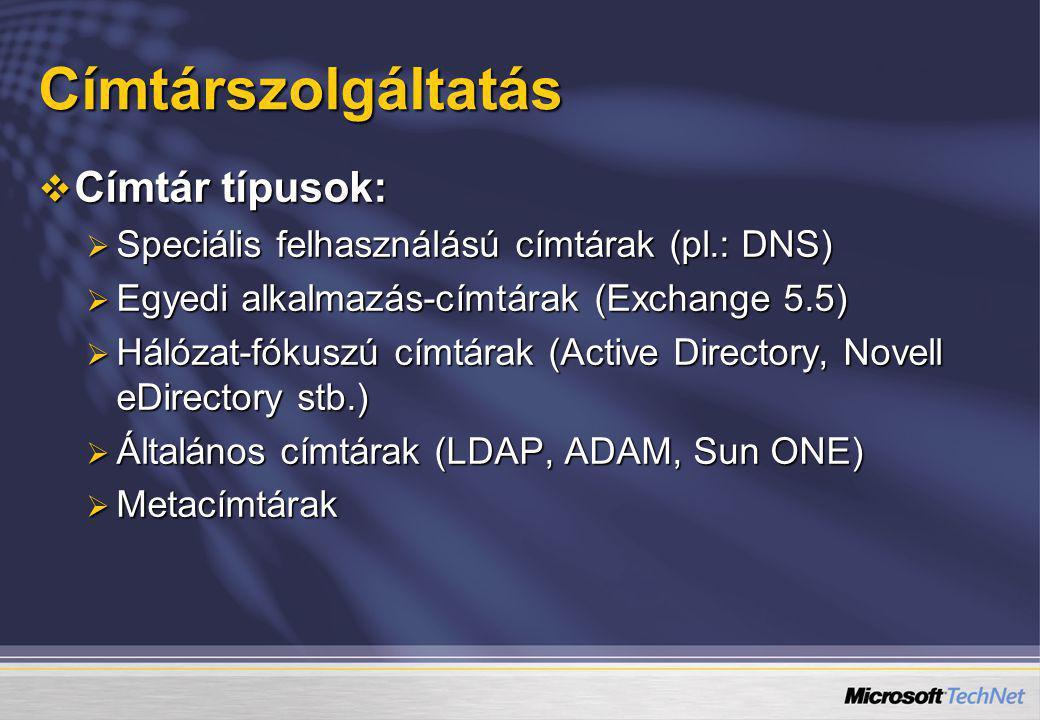Címtárszolgáltatás  Címtár típusok:  Speciális felhasználású címtárak (pl.: DNS)  Egyedi alkalmazás-címtárak (Exchange 5.5)  Hálózat-fókuszú címtá