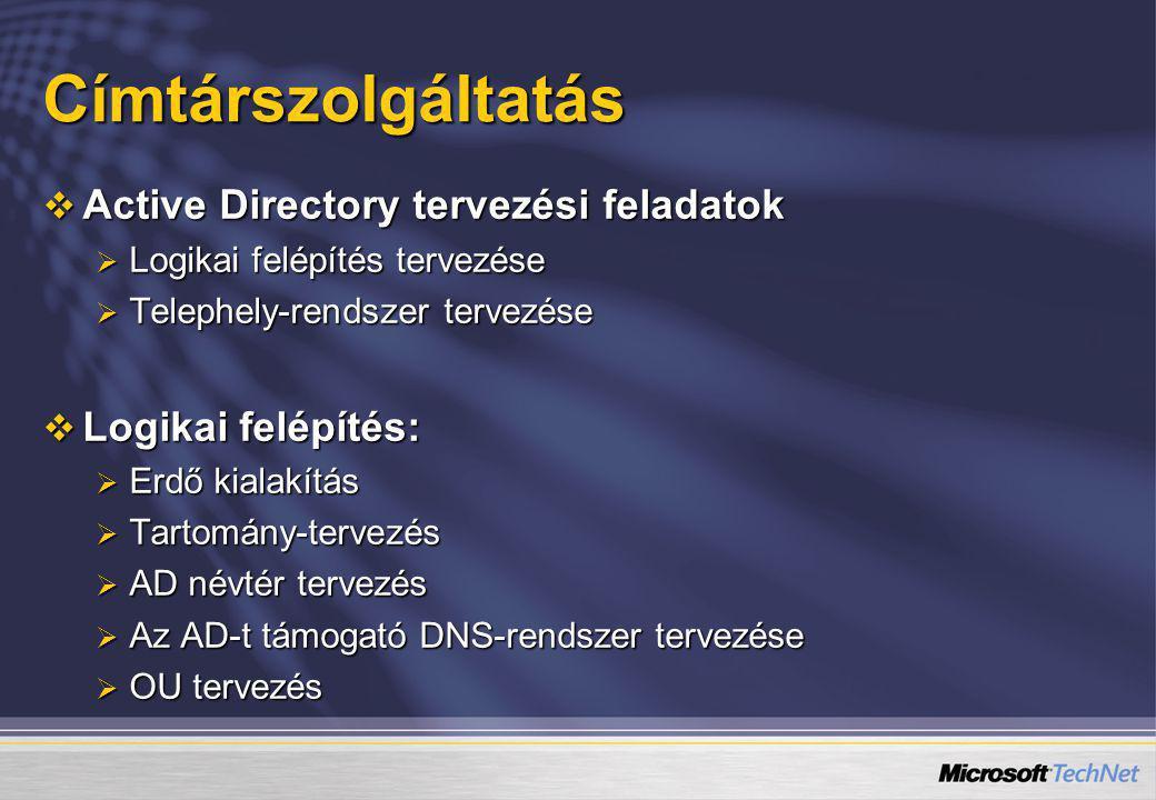 Címtárszolgáltatás  Active Directory tervezési feladatok  Logikai felépítés tervezése  Telephely-rendszer tervezése  Logikai felépítés:  Erdő kia