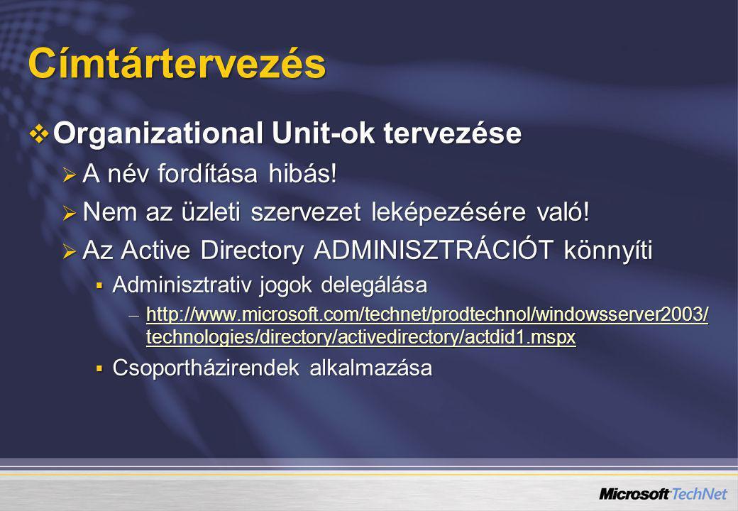 Címtártervezés  Organizational Unit-ok tervezése  A név fordítása hibás!  Nem az üzleti szervezet leképezésére való!  Az Active Directory ADMINISZ