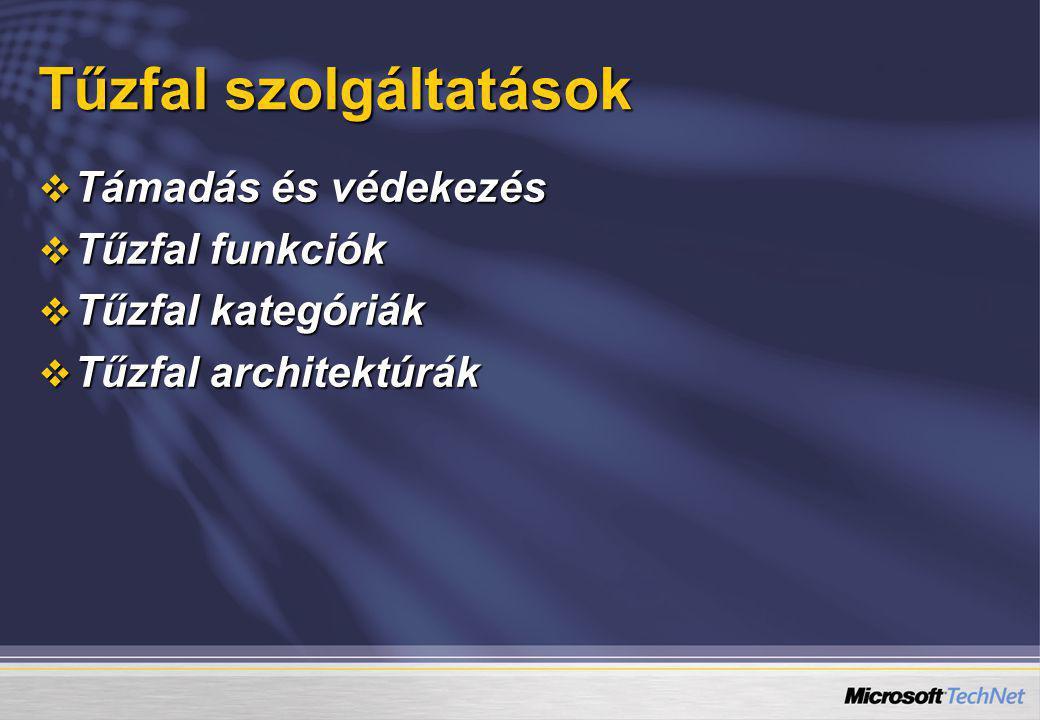  Támadás és védekezés  Tűzfal funkciók  Tűzfal kategóriák  Tűzfal architektúrák