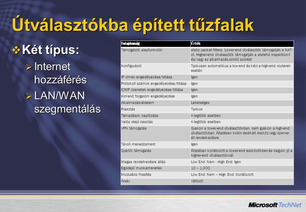 Útválasztókba épített tűzfalak  Két típus:  Internet hozzáférés  LAN/WAN szegmentálás TulajdonságÉrték Támogatott alapfunkciókstatic packet filters