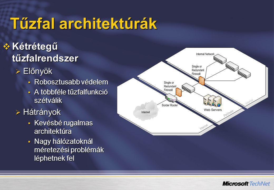 Tűzfal architektúrák  Kétrétegű tűzfalrendszer  Előnyök  Robosztusabb védelem  A többféle tűzfalfunkció szétválik  Hátrányok  Kevésbé rugalmas a