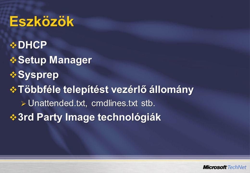 Eszközök  DHCP  Setup Manager  Sysprep  Többféle telepítést vezérlő állomány  Unattended.txt, cmdlines.txt stb.  3rd Party Image technológiák