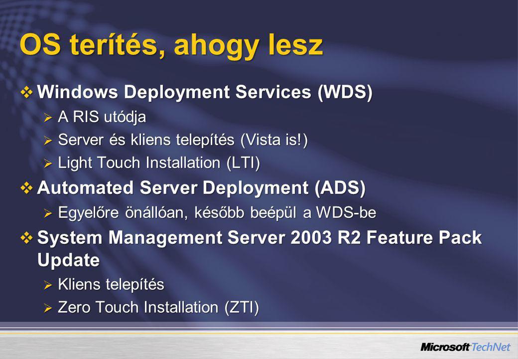 OS terítés, ahogy lesz  Windows Deployment Services (WDS)  A RIS utódja  Server és kliens telepítés (Vista is!)  Light Touch Installation (LTI) 