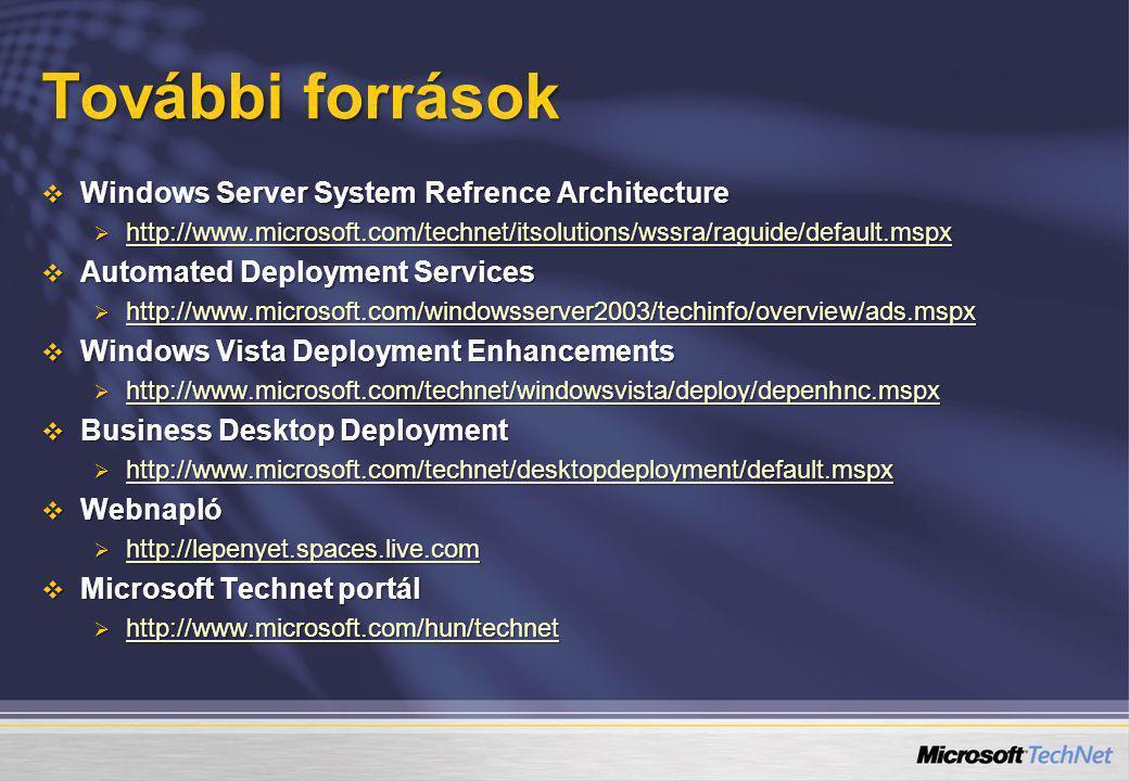 További források  Windows Server System Refrence Architecture  http://www.microsoft.com/technet/itsolutions/wssra/raguide/default.mspx http://www.mi