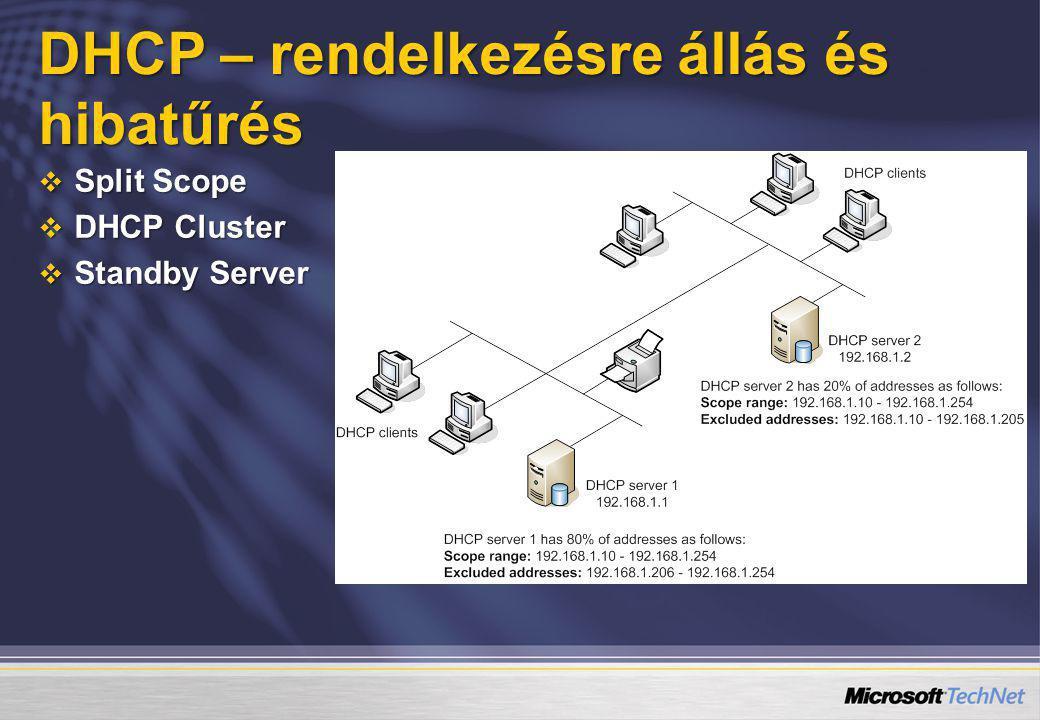 DHCP – rendelkezésre állás és hibatűrés  Split Scope  DHCP Cluster  Standby Server