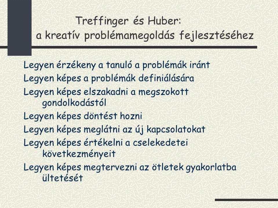 Treffinger és Huber: a kreatív problémamegoldás fejlesztéséhez Legyen érzékeny a tanuló a problémák iránt Legyen képes a problémák definiálására Legye
