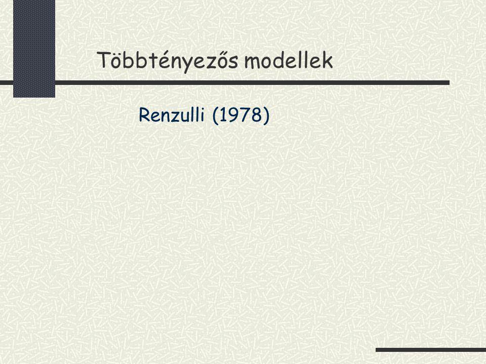 Többtényezős modellek Renzulli (1978)