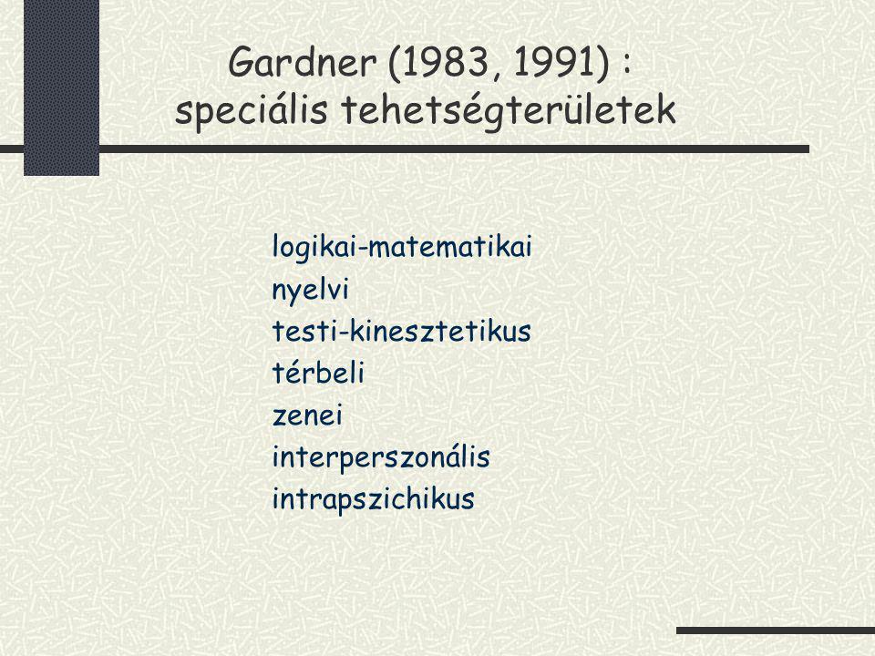 Gardner (1983, 1991) : speciális tehetségterületek logikai-matematikai nyelvi testi-kinesztetikus térbeli zenei interperszonális intrapszichikus
