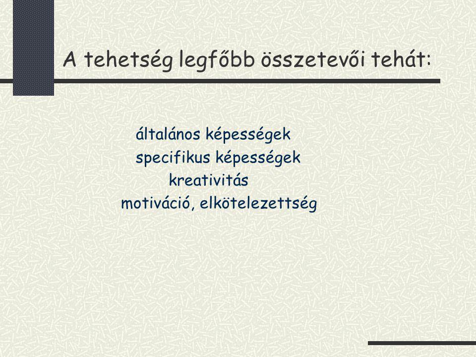A tehetség legfőbb összetevői tehát: általános képességek specifikus képességek kreativitás motiváció, elkötelezettség