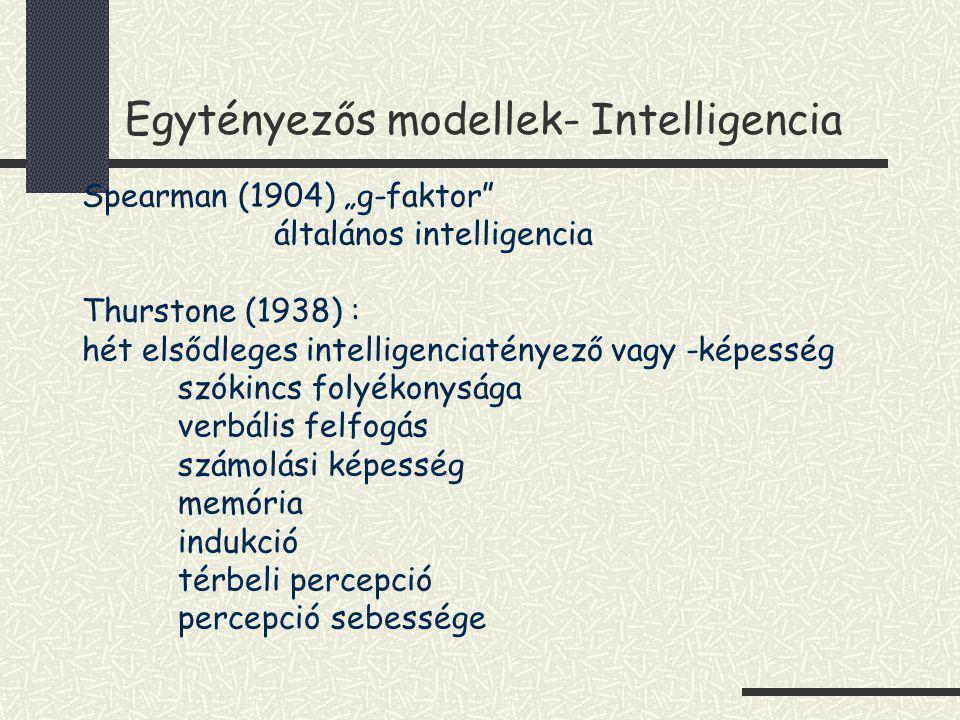 Egytényezős modellek- Intelligencia Cattel (1971): folyékony és kikristályosodott IQ komponensei- folyékony érvelés (!) akkulturális ismeret vizuális feldolgozás hallás utáni felfogás feldolgozási sebesség (!) helyes döntéshozás sebessége rövid távú memória (!) hosszú távú memória (!) vizuális szenzoros észlelés hallási szenzoros észlelés