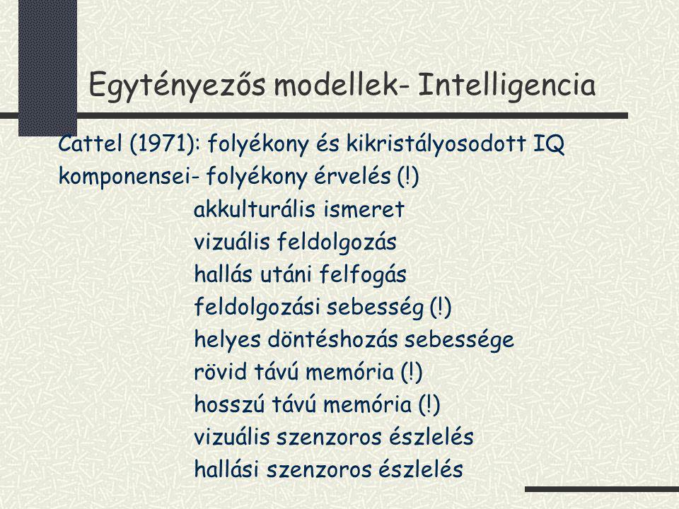 Egytényezős modellek- Intelligencia Cattel (1971): folyékony és kikristályosodott IQ komponensei- folyékony érvelés (!) akkulturális ismeret vizuális