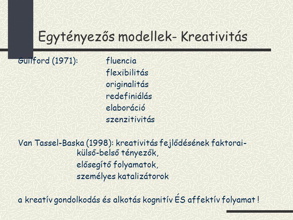 Egytényezős modellek- Kreativitás Guilford (1971): fluencia flexibilitás originalitás redefiniálás elaboráció szenzitivitás Van Tassel-Baska (1998): k