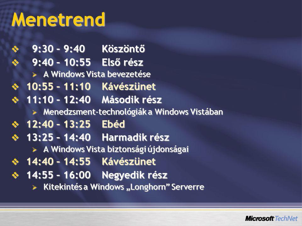 """Menetrend  9:30 – 9:40Köszöntő  9:40 – 10:55Első rész  A Windows Vista bevezetése  10:55 – 11:10Kávészünet  11:10 – 12:40Második rész  Menedzsment-technológiák a Windows Vistában  12:40 – 13:25Ebéd  13:25 – 14:40Harmadik rész  A Windows Vista biztonsági újdonságai  14:40 – 14:55Kávészünet  14:55 – 16:00Negyedik rész  Kitekintés a Windows """"Longhorn Serverre"""