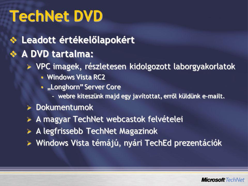 """TechNet DVD  Leadott értékelőlapokért  A DVD tartalma:  VPC imagek, részletesen kidolgozott laborgyakorlatok  Windows Vista RC2  """"Longhorn Server Core –webre kiteszünk majd egy javítottat, erről küldünk e-mailt."""