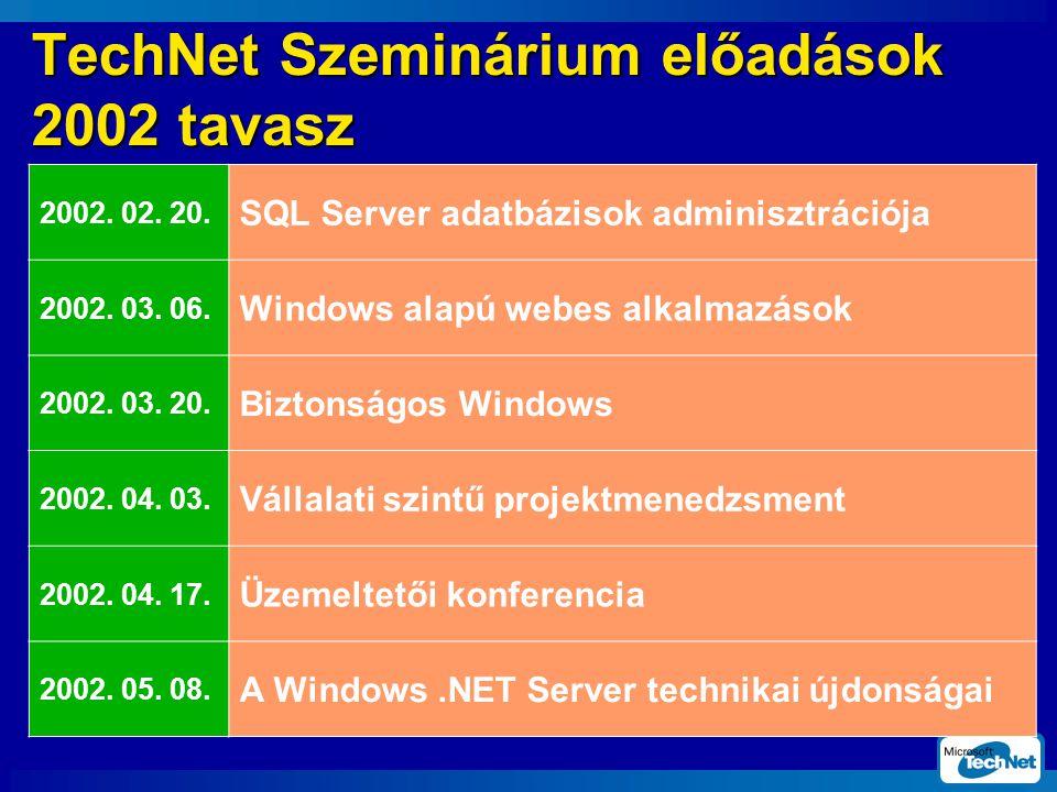 TechNet Szeminárium előadások 2002 tavasz 2002.02.