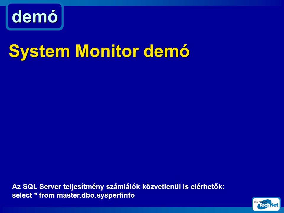 demó System Monitor demó Az SQL Server teljesítmény számlálók közvetlenül is elérhetők: select * from master.dbo.sysperfinfo