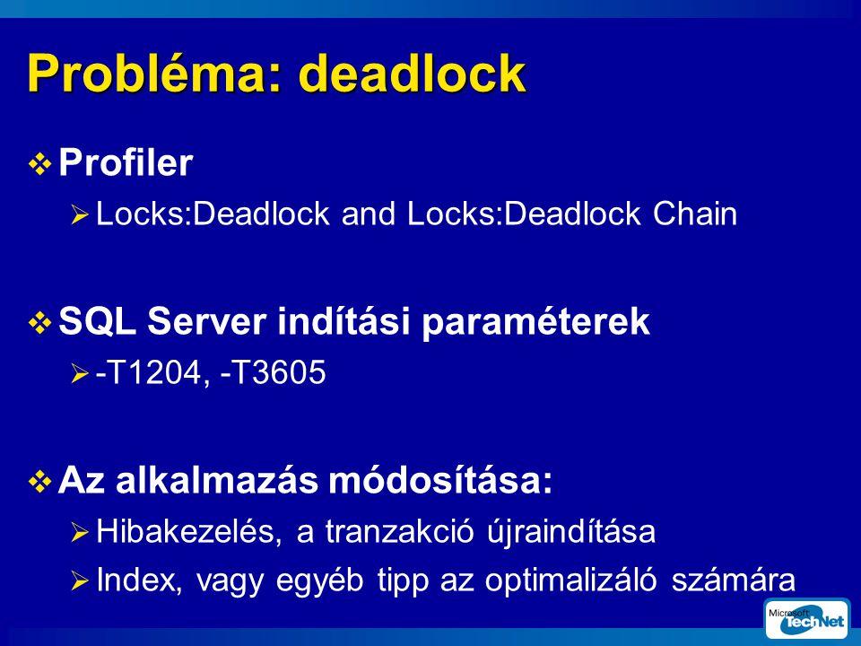 Probléma: deadlock  Profiler  Locks:Deadlock and Locks:Deadlock Chain  SQL Server indítási paraméterek  -T1204, -T3605  Az alkalmazás módosítása:  Hibakezelés, a tranzakció újraindítása  Index, vagy egyéb tipp az optimalizáló számára