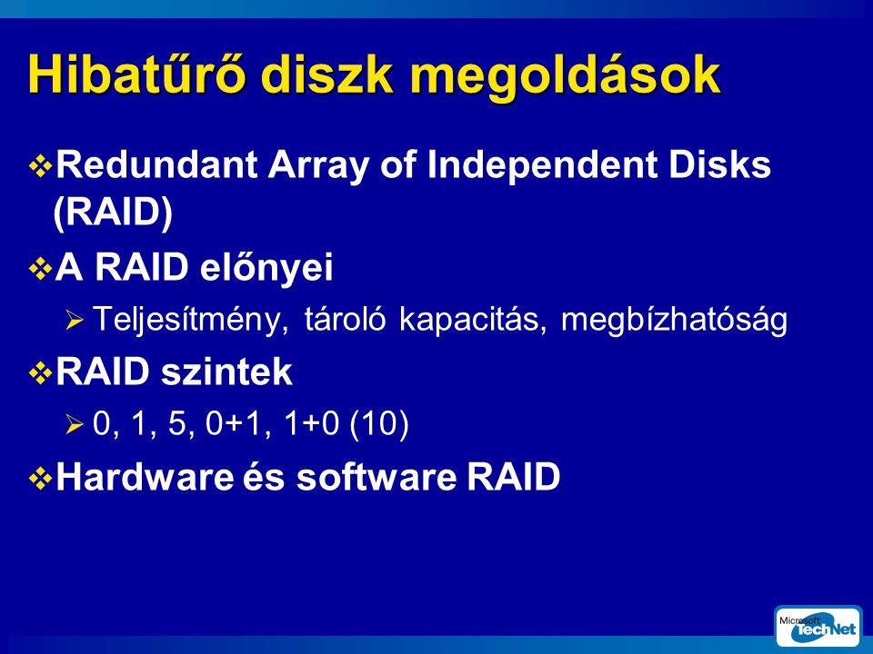 Hibatűrő diszk megoldások  Redundant Array of Independent Disks (RAID)  A RAID előnyei  Teljesítmény, tároló kapacitás, megbízhatóság  RAID szintek  0, 1, 5, 0+1, 1+0 (10)  Hardware és software RAID