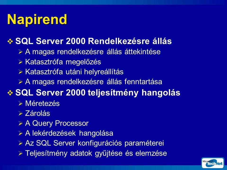 Napirend  SQL Server 2000 Rendelkezésre állás  A magas rendelkezésre állás áttekintése  Katasztrófa megelőzés  Katasztrófa utáni helyreállítás  A magas rendelkezésre állás fenntartása  SQL Server 2000 teljesítmény hangolás  Méretezés  Zárolás  A Query Processor  A lekérdezések hangolása  Az SQL Server konfigurációs paraméterei  Teljesítmény adatok gyűjtése és elemzése