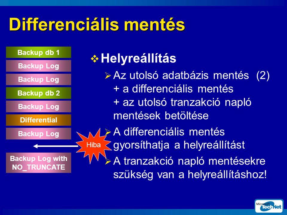 Differenciális mentés  Helyreállítás  Az utolsó adatbázis mentés (2) + a differenciális mentés + az utolsó tranzakció napló mentések betöltése  A differenciális mentés gyorsíthatja a helyreállítást  A tranzakció napló mentésekre szükség van a helyreállításhoz.