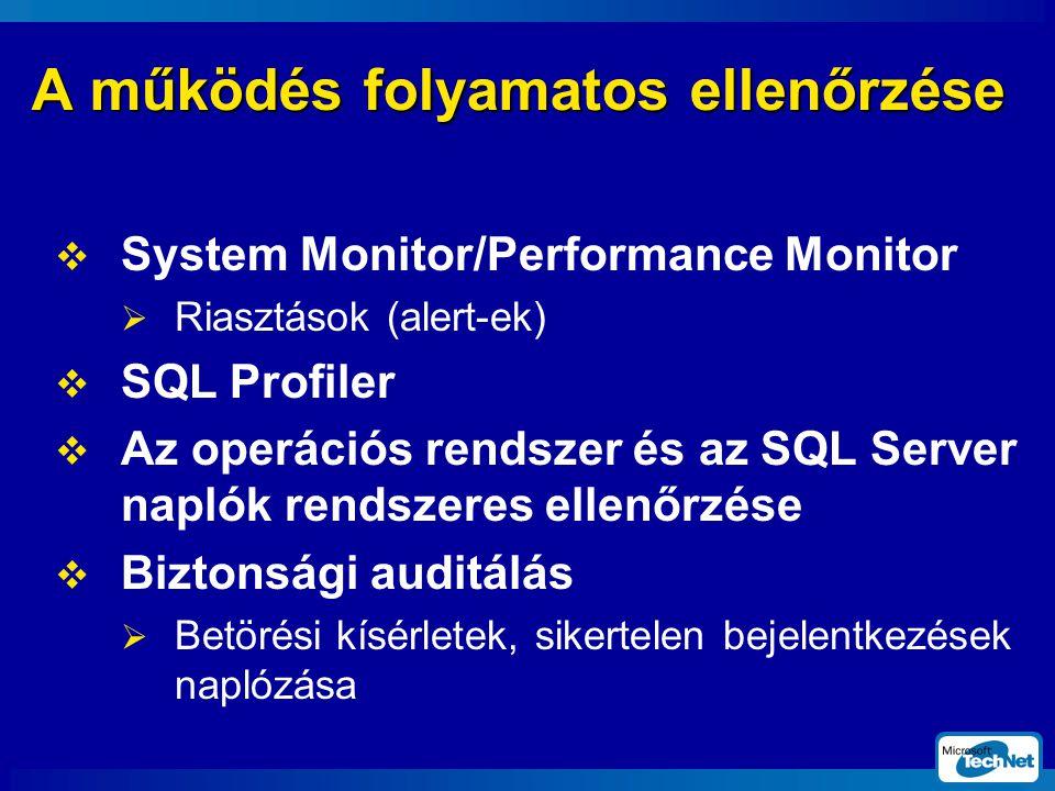 A működés folyamatos ellenőrzése  System Monitor/Performance Monitor  Riasztások (alert-ek)  SQL Profiler  Az operációs rendszer és az SQL Server naplók rendszeres ellenőrzése  Biztonsági auditálás  Betörési kísérletek, sikertelen bejelentkezések naplózása