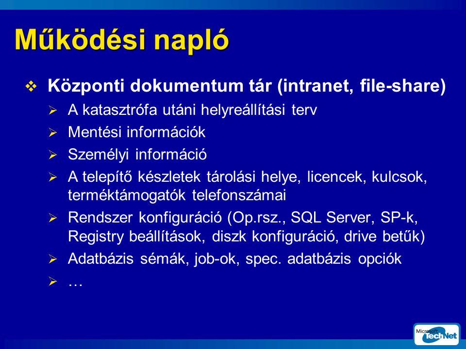 Működési napló  Központi dokumentum tár (intranet, file-share)  A katasztrófa utáni helyreállítási terv  Mentési információk  Személyi információ  A telepítő készletek tárolási helye, licencek, kulcsok, terméktámogatók telefonszámai  Rendszer konfiguráció (Op.rsz., SQL Server, SP-k, Registry beállítások, diszk konfiguráció, drive betűk)  Adatbázis sémák, job-ok, spec.