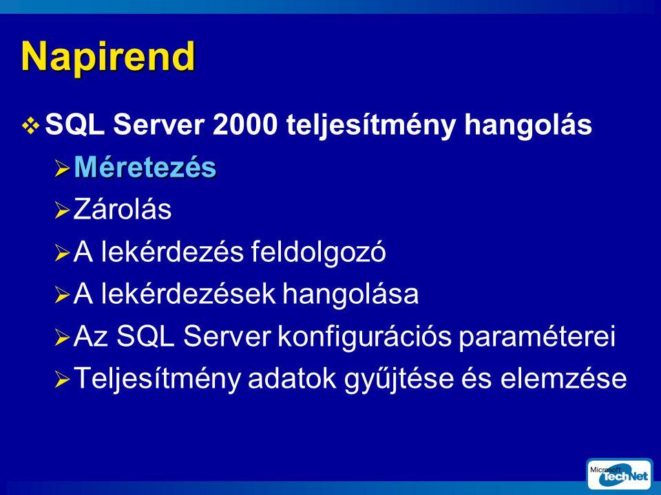 Napirend  SQL Server 2000 teljesítmény hangolás  Méretezés  Zárolás  A lekérdezés feldolgozó  A lekérdezések hangolása  Az SQL Server konfigurációs paraméterei  Teljesítmény adatok gyűjtése és elemzése