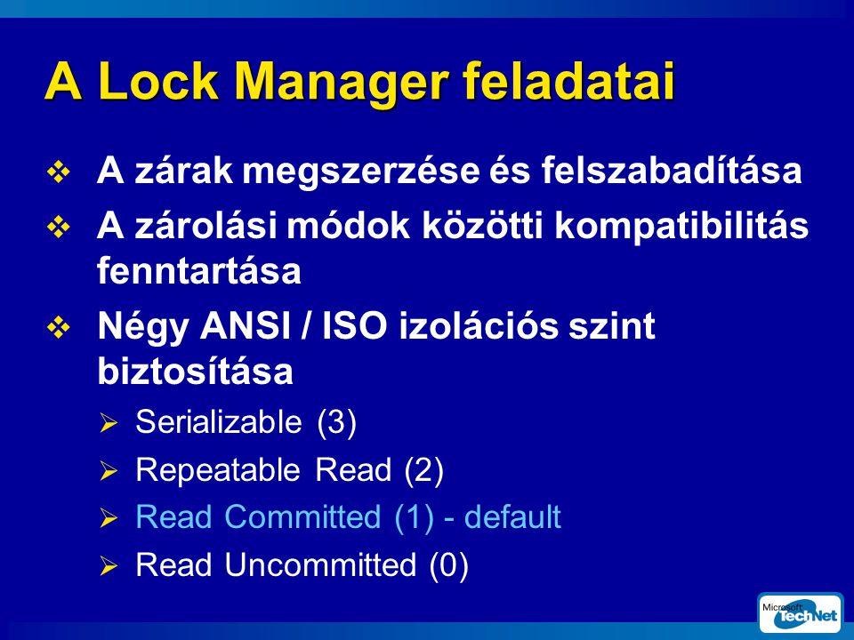 A Lock Manager feladatai  A zárak megszerzése és felszabadítása  A zárolási módok közötti kompatibilitás fenntartása  Négy ANSI / ISO izolációs szint biztosítása  Serializable (3)  Repeatable Read (2)  Read Committed (1) - default  Read Uncommitted (0)