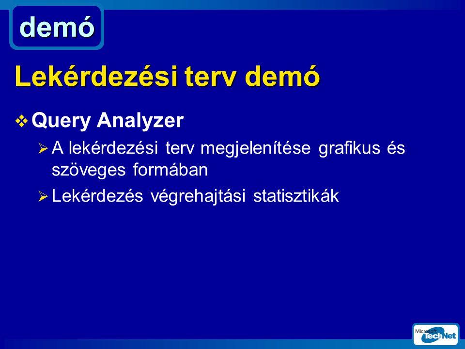  Query Analyzer  A lekérdezési terv megjelenítése grafikus és szöveges formában  Lekérdezés végrehajtási statisztikák demó Lekérdezési terv demó