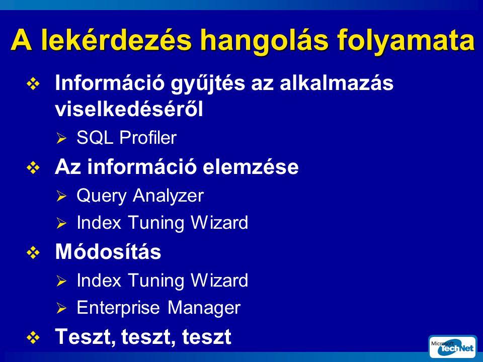 A lekérdezés hangolás folyamata  Információ gyűjtés az alkalmazás viselkedéséről  SQL Profiler  Az információ elemzése  Query Analyzer  Index Tuning Wizard  Módosítás  Index Tuning Wizard  Enterprise Manager  Teszt, teszt, teszt