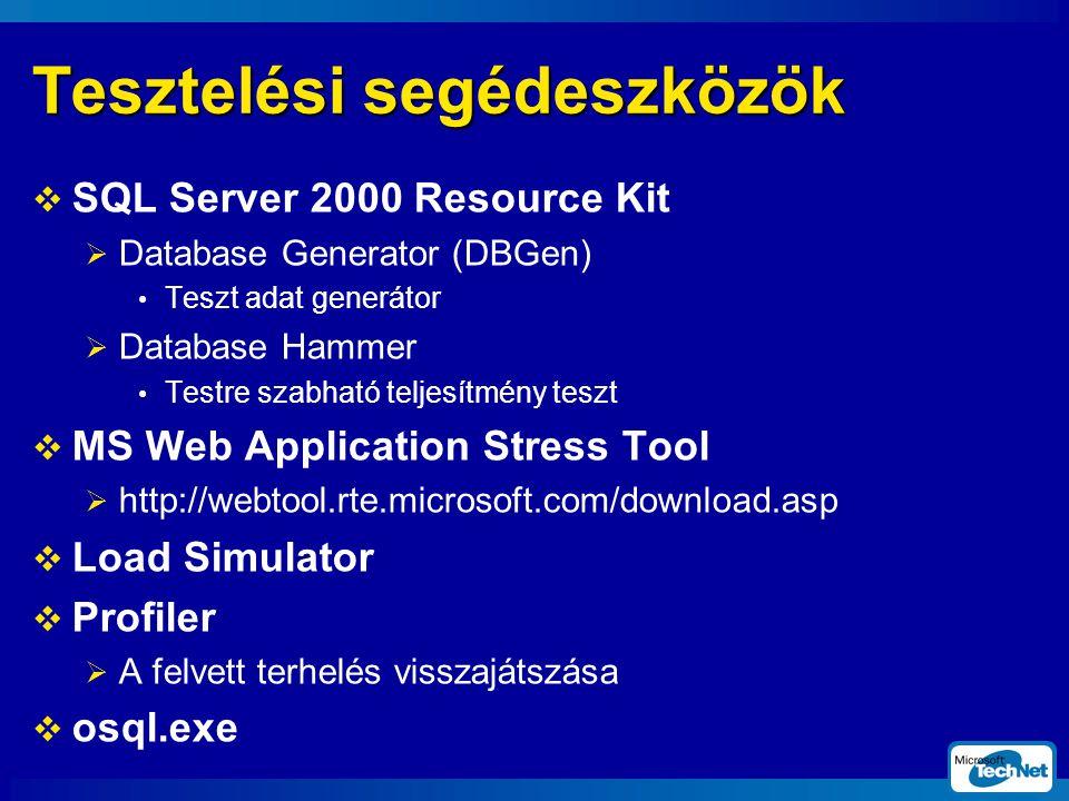 Tesztelési segédeszközök  SQL Server 2000 Resource Kit  Database Generator (DBGen) Teszt adat generátor  Database Hammer Testre szabható teljesítmény teszt  MS Web Application Stress Tool  http://webtool.rte.microsoft.com/download.asp  Load Simulator  Profiler  A felvett terhelés visszajátszása  osql.exe