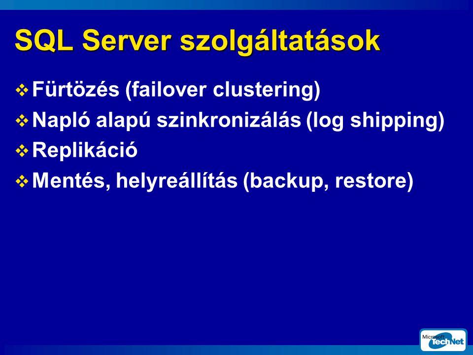 SQL Server szolgáltatások  Fürtözés (failover clustering)  Napló alapú szinkronizálás (log shipping)  Replikáció  Mentés, helyreállítás (backup, restore)