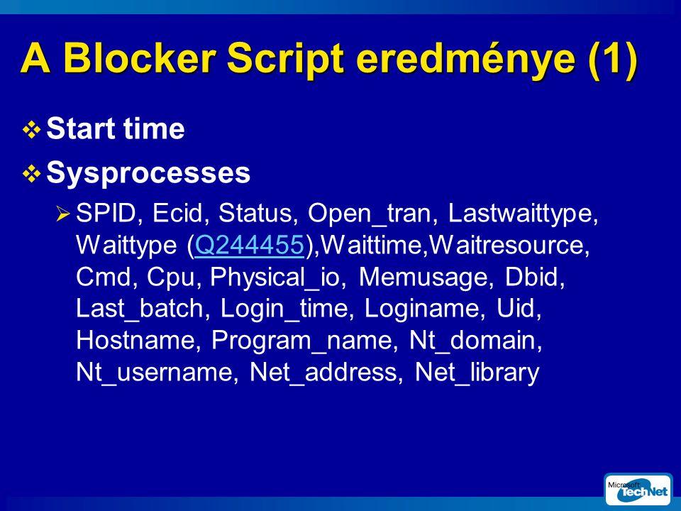 A Blocker Script eredménye (1)  Start time  Sysprocesses  SPID, Ecid, Status, Open_tran, Lastwaittype, Waittype (Q244455),Waittime,Waitresource, Cmd, Cpu, Physical_io, Memusage, Dbid, Last_batch, Login_time, Loginame, Uid, Hostname, Program_name, Nt_domain, Nt_username, Net_address, Net_library