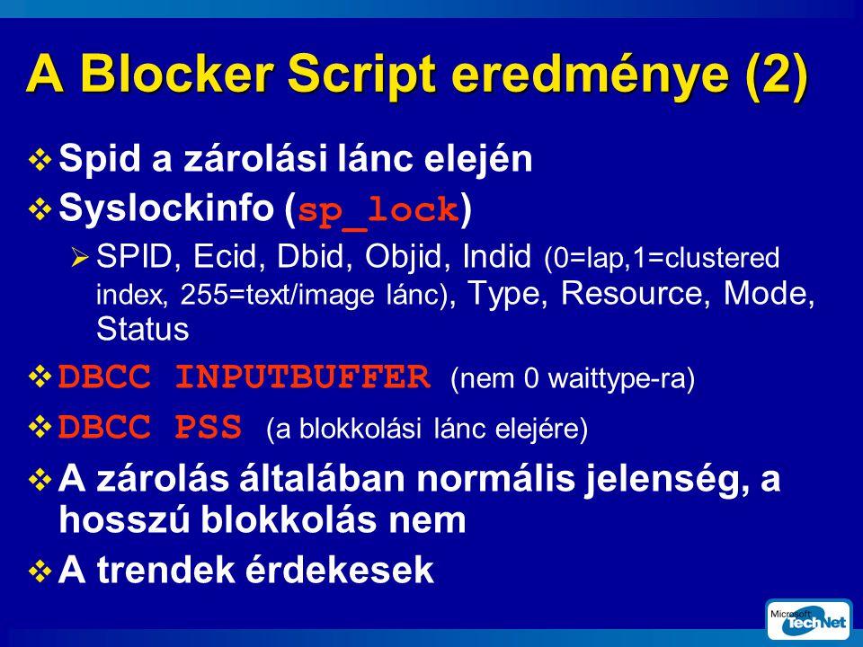 A Blocker Script eredménye (2)  Spid a zárolási lánc elején  Syslockinfo (sp_lock)  SPID, Ecid, Dbid, Objid, Indid (0=lap,1=clustered index, 255=text/image lánc), Type, Resource, Mode, Status  DBCC INPUTBUFFER (nem 0 waittype-ra)  DBCC PSS (a blokkolási lánc elejére)  A zárolás általában normális jelenség, a hosszú blokkolás nem  A trendek érdekesek