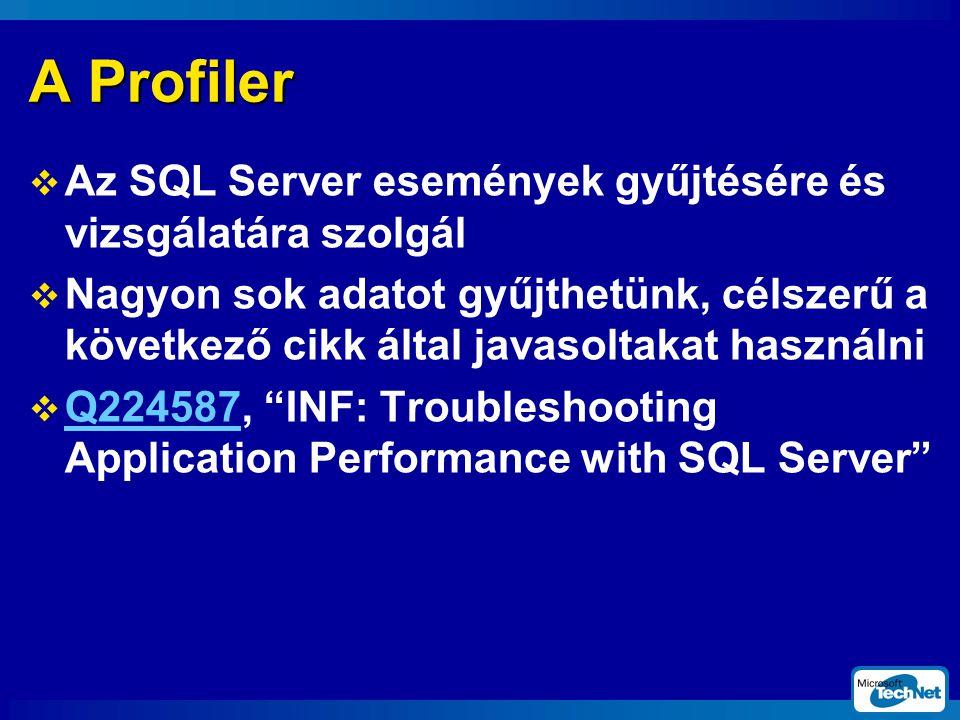 A Profiler  Az SQL Server események gyűjtésére és vizsgálatára szolgál  Nagyon sok adatot gyűjthetünk, célszerű a következő cikk által javasoltakat használni  Q224587, INF: Troubleshooting Application Performance with SQL Server