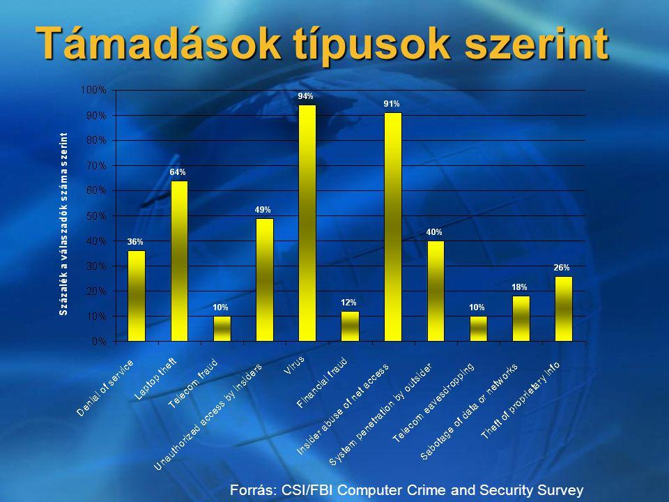 Támadások típusok szerint Forrás: CSI/FBI Computer Crime and Security Survey
