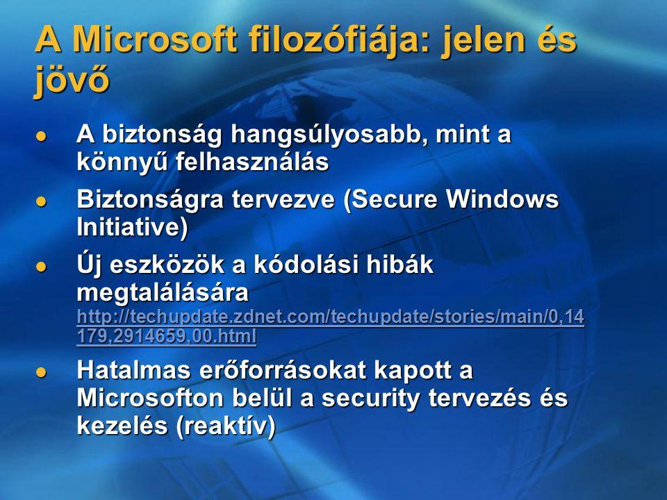 A Microsoft filozófiája: jelen és jövő A biztonság hangsúlyosabb, mint a könnyű felhasználás A biztonság hangsúlyosabb, mint a könnyű felhasználás Biztonságra tervezve (Secure Windows Initiative) Biztonságra tervezve (Secure Windows Initiative) Új eszközök a kódolási hibák megtalálására http://techupdate.zdnet.com/techupdate/stories/main/0,14 179,2914659,00.html Új eszközök a kódolási hibák megtalálására http://techupdate.zdnet.com/techupdate/stories/main/0,14 179,2914659,00.html http://techupdate.zdnet.com/techupdate/stories/main/0,14 179,2914659,00.html http://techupdate.zdnet.com/techupdate/stories/main/0,14 179,2914659,00.html Hatalmas erőforrásokat kapott a Microsofton belül a security tervezés és kezelés (reaktív) Hatalmas erőforrásokat kapott a Microsofton belül a security tervezés és kezelés (reaktív)