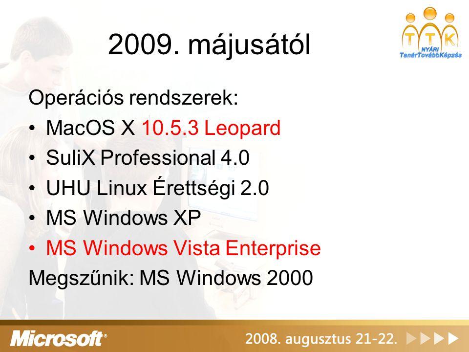 2009. májusától Operációs rendszerek: MacOS X 10.5.3 Leopard SuliX Professional 4.0 UHU Linux Érettségi 2.0 MS Windows XP MS Windows Vista Enterprise