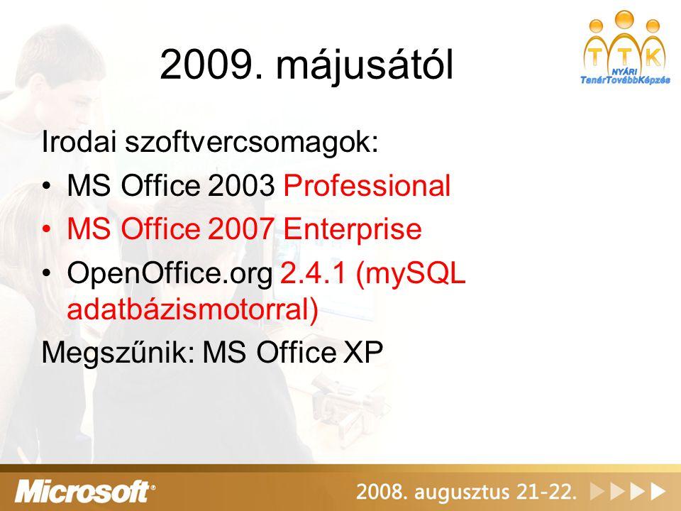 2009. májusától Irodai szoftvercsomagok: MS Office 2003 Professional MS Office 2007 Enterprise OpenOffice.org 2.4.1 (mySQL adatbázismotorral) Megszűni