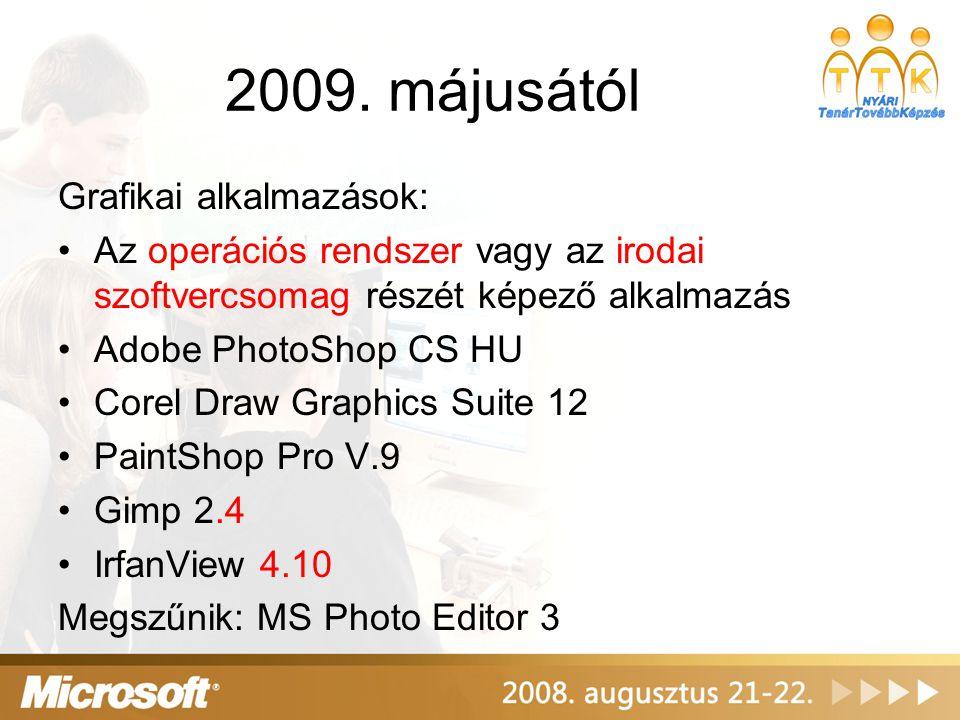 2009. májusától Grafikai alkalmazások: Az operációs rendszer vagy az irodai szoftvercsomag részét képező alkalmazás Adobe PhotoShop CS HU Corel Draw G