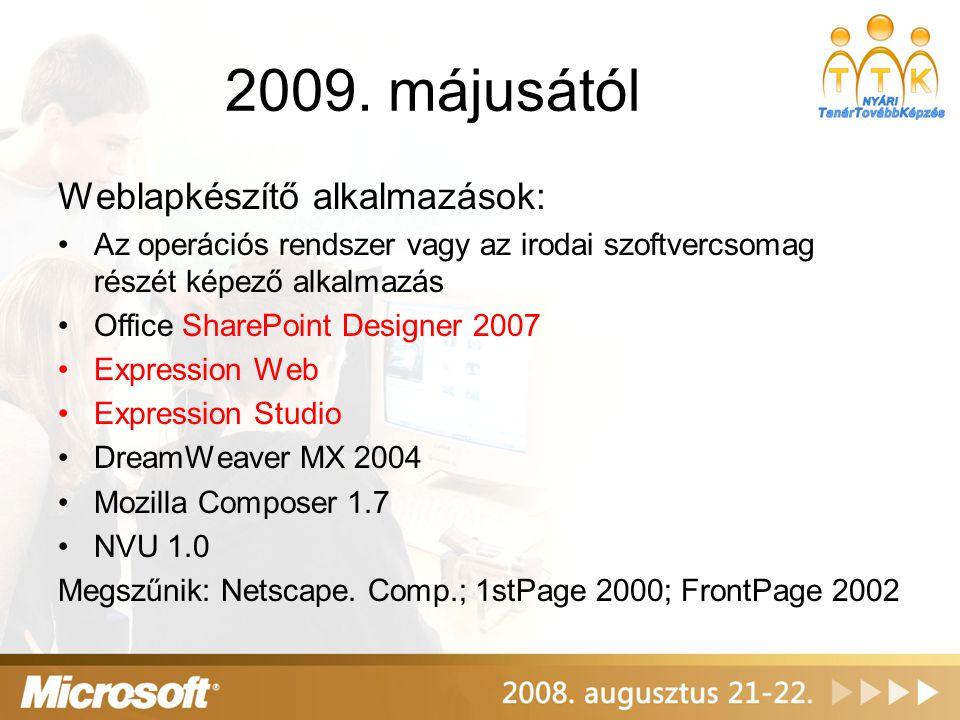 2009. májusától Weblapkészítő alkalmazások: Az operációs rendszer vagy az irodai szoftvercsomag részét képező alkalmazás Office SharePoint Designer 20