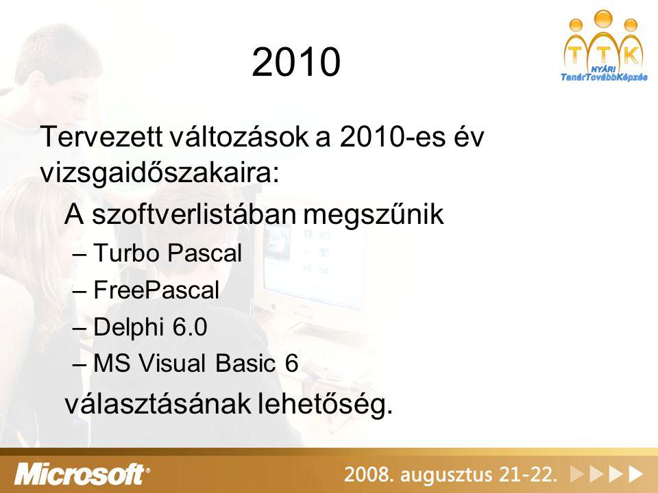 2010 Tervezett változások a 2010-es év vizsgaidőszakaira: A szoftverlistában megszűnik –Turbo Pascal –FreePascal –Delphi 6.0 –MS Visual Basic 6 válasz