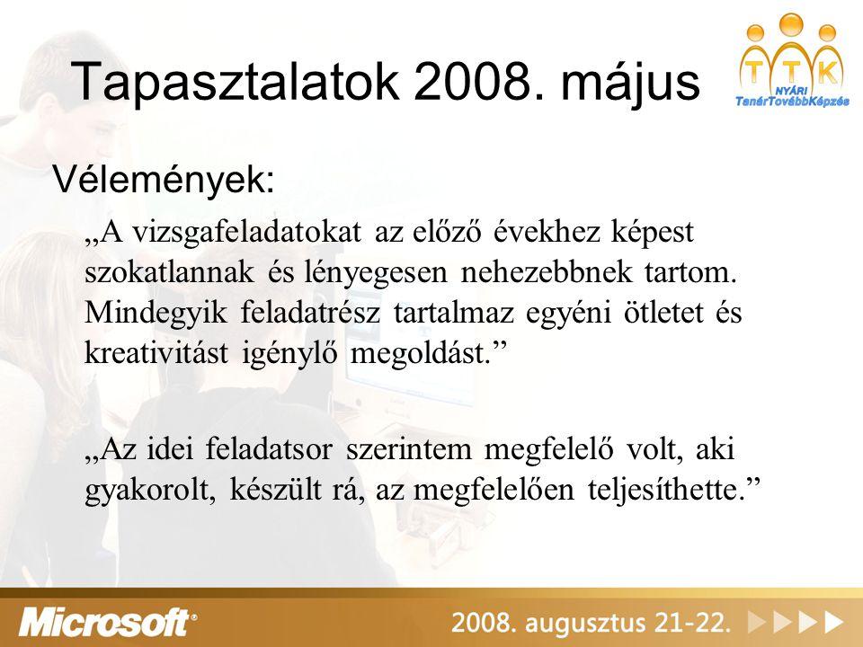 """Tapasztalatok 2008. május Vélemények: """"A vizsgafeladatokat az előző évekhez képest szokatlannak és lényegesen nehezebbnek tartom. Mindegyik feladatrés"""