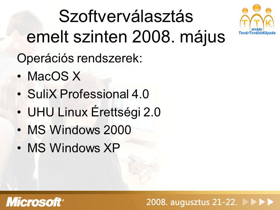 Szoftverválasztás emelt szinten 2008. május Operációs rendszerek: MacOS X SuliX Professional 4.0 UHU Linux Érettségi 2.0 MS Windows 2000 MS Windows XP