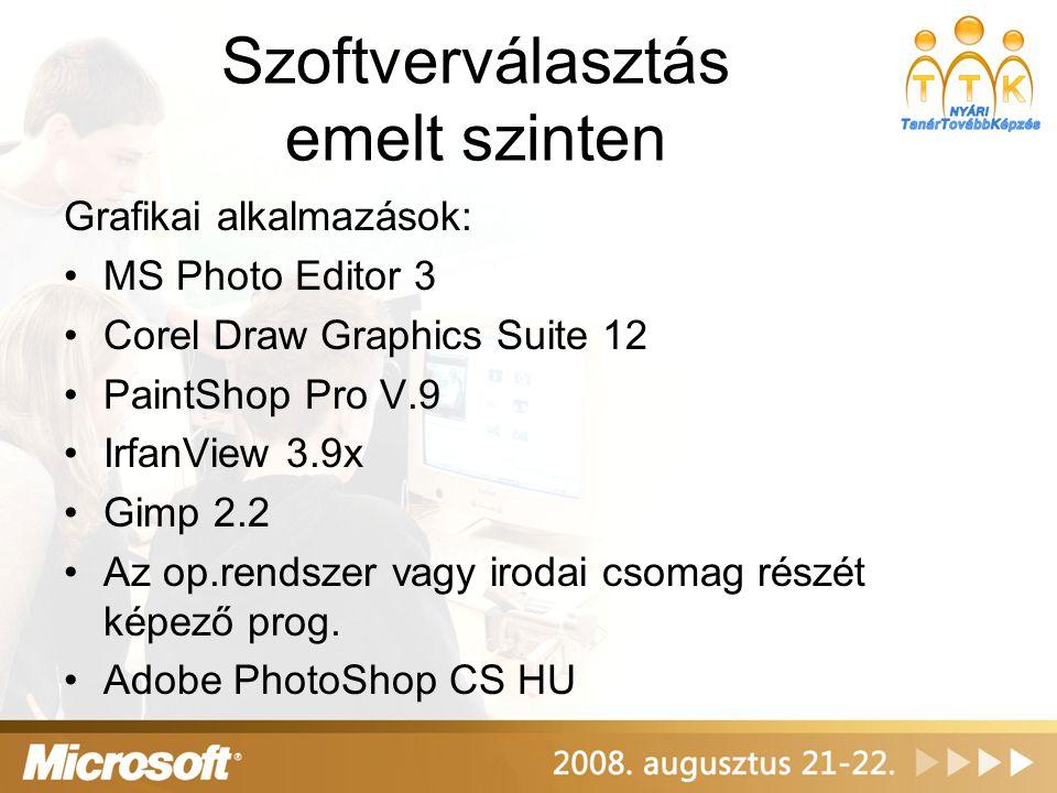Szoftverválasztás emelt szinten Grafikai alkalmazások: MS Photo Editor 3 Corel Draw Graphics Suite 12 PaintShop Pro V.9 IrfanView 3.9x Gimp 2.2 Az op.
