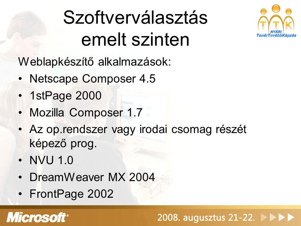 Szoftverválasztás emelt szinten Weblapkészítő alkalmazások: Netscape Composer 4.5 1stPage 2000 Mozilla Composer 1.7 Az op.rendszer vagy irodai csomag