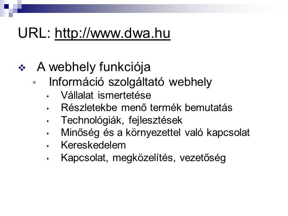 URL: http://www.dwa.hu  A webhely funkciója  Információ szolgáltató webhely Vállalat ismertetése Részletekbe menő termék bemutatás Technológiák, fejlesztések Minőség és a környezettel való kapcsolat Kereskedelem Kapcsolat, megközelítés, vezetőség
